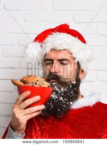 handsome bearded man with stylish mustache and long snowy beard on serious face holding and sniffing chocolate chip cookies in red santa suit on white brick wall background