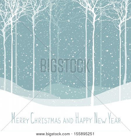 Merry Christmas postcard. Calm winter scene. Vector background with white tree silhouettes under snowfall. Calm winter forest. Snowfall