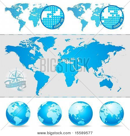 Vector World maps and globe