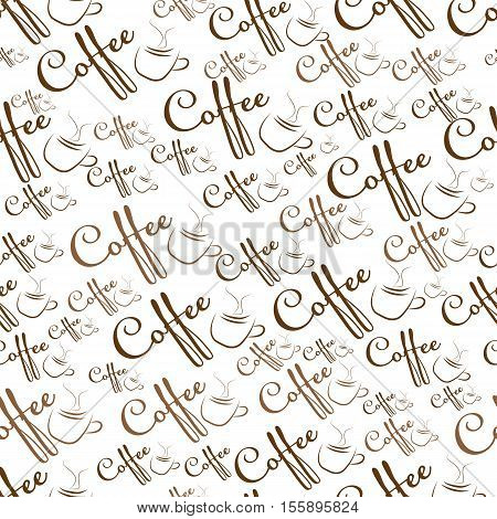 Seamless pattern with the words coffee and cups. Vector illustration.
