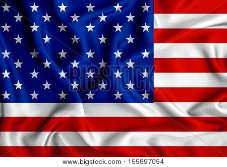 The American flag with wave luxury silk or satin fabric background