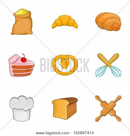Pastries icons set. Cartoon illustration of 9 pastries vector icons for web