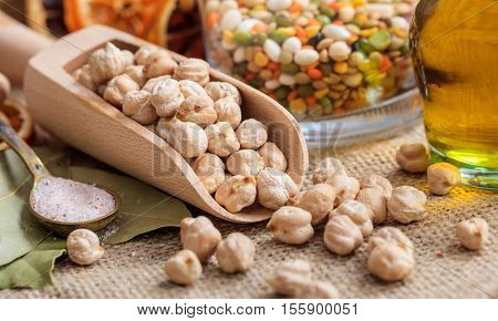 Wooden Scoop With Chick Peas