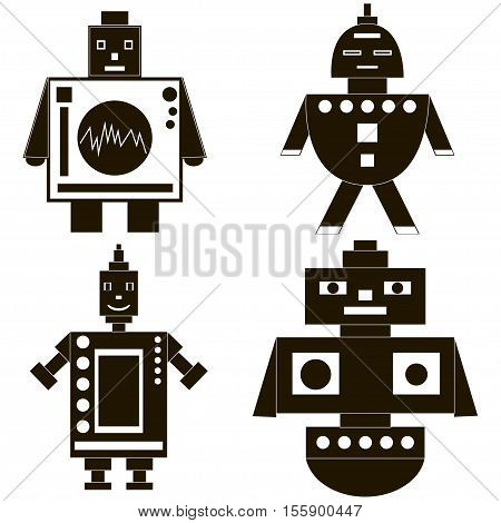 Robot icons set. Black and white. Vector illustration