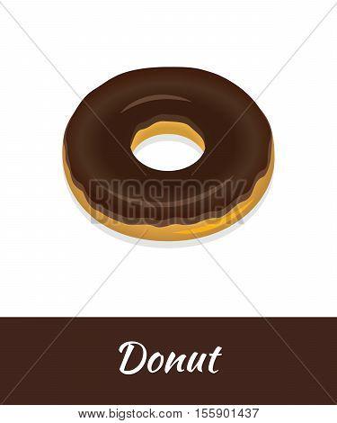 Donut vector food isolated on white background. Fresh chocolate doughnut brochure Breakfast