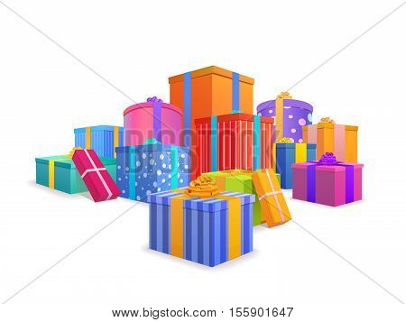 Group of bright, colorful wrapped gift boxes isolated on white