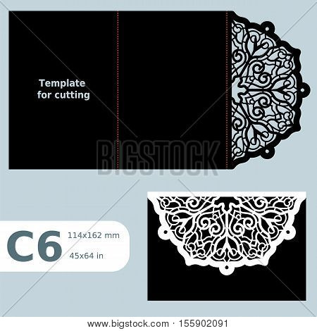 C6 paper openwork greeting card wedding invitation template for cutting lace invitation card with fold lines object isolated background laser cut template vector illustration poster