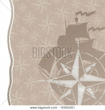 Travel and adventures background with compass rose
