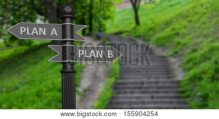 Plan A And Plan B Arrows On Signpole