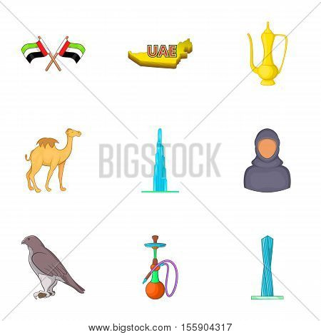 Stay in UAE icons set. Cartoon illustration of 9 stay in UAE vector icons for web