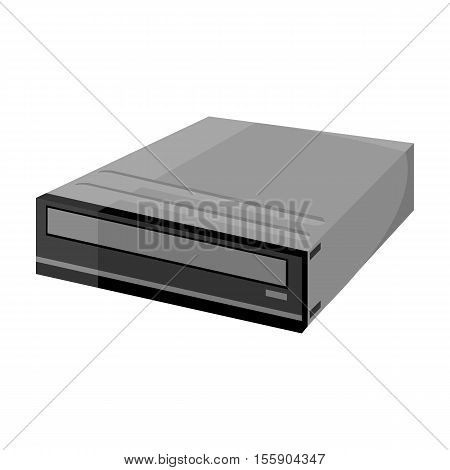 CD-ROM icon in monochrome style isolated on white background. Personal computer symbol vector illustration.