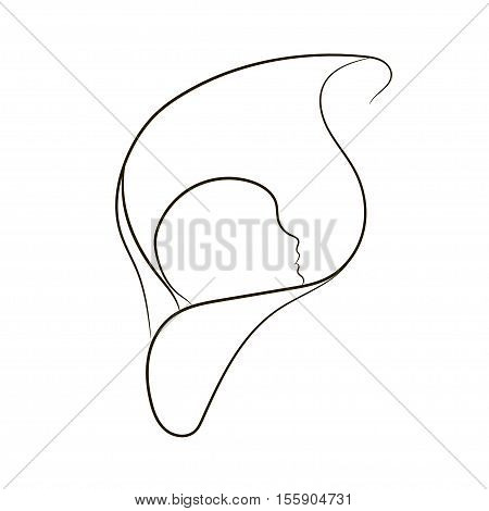 Natural childbirth vector symbol in simple lines