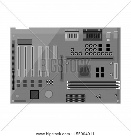 Motherboard icon in monochrome style isolated on white background. Personal computer symbol vector illustration.