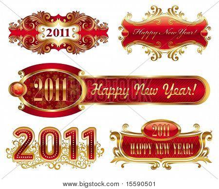 Happy new year 2011 - golden vector ornate frames