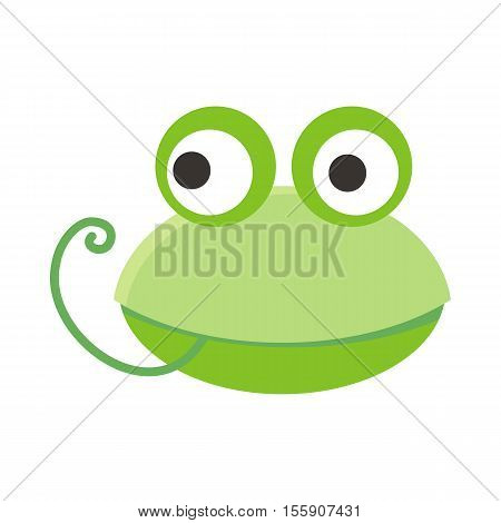 Frog face vector. Flat design. Animal head cartoon icon. Illustration for nature concepts, children s books illustrating, printing materials, web. Funny mask or avatar. Isolated on white background