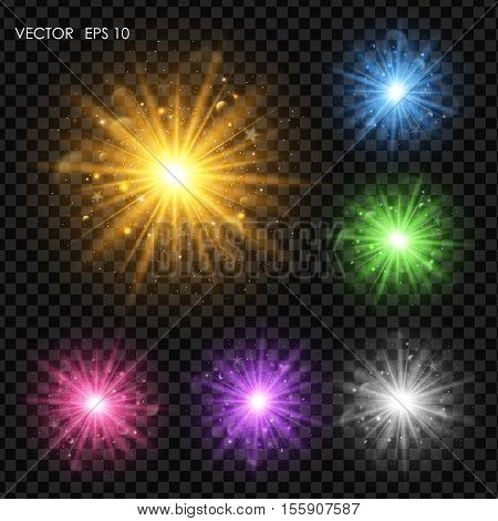 Vector light effects. Abstract background with blurred shiny sparkles and glitter dust. Glowing bright flare with de-focused bokeh lights.