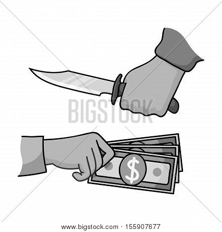 Robbery icon in monochrome style isolated on white background. Crime symbol vector illustration.