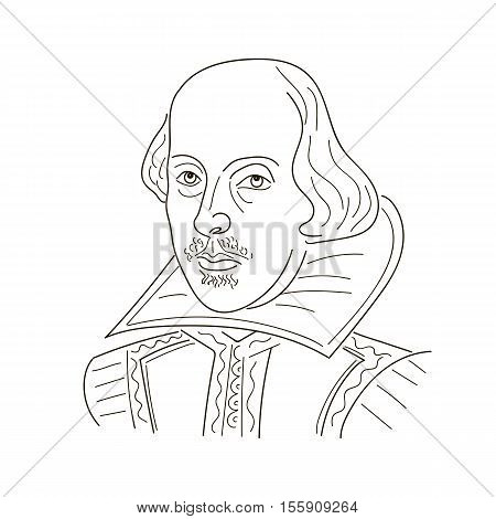 William Shakespeare. Sketch illustration. Black and white vector