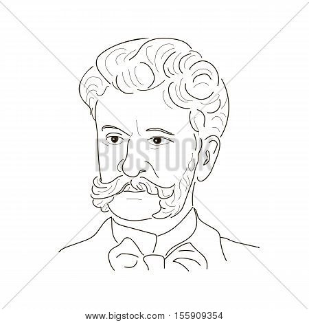 Johann Strauss the Son . The Waltz King . An Austrian composer of the 19th centure. Sketch illustration.