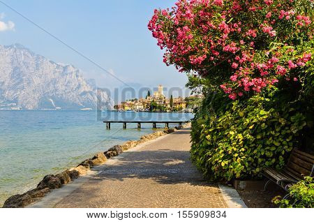 Malcesine on Lake Garda Italy. View of the old town and the Scaliger castle.