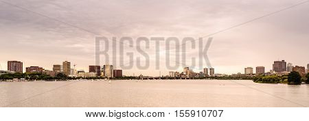 Boston city skyline on sunset, Massachusetts, USA.
