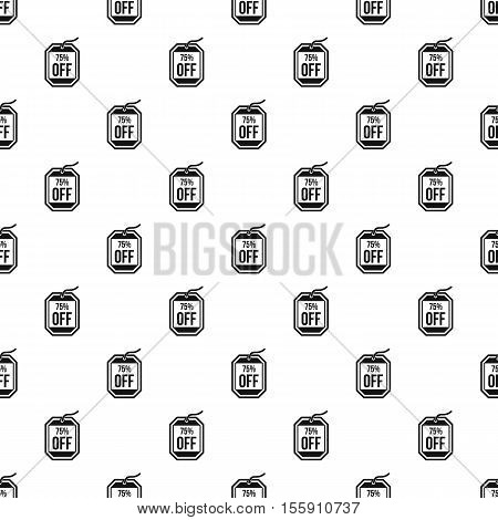 Sale tag 75 percent off pattern. Simple illustration of sale tag 75 percent off vector pattern for web
