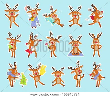 Set of funny deers vector. Flat style. Cute sleeping, hurry, crying, chanting, meditating, loving, angry, playing the guitar, resting cheerful confused celebrating Christmas deer cartoon