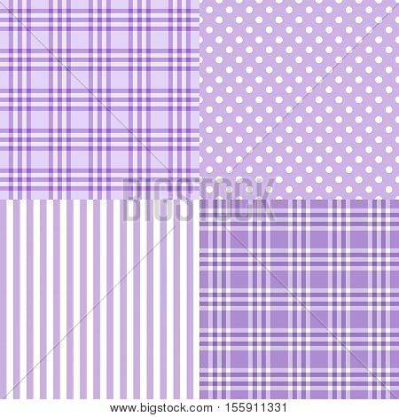 Vector set of 4 purple patterns striped plaid spotted . Good for Baby Shower Birthday Mother's Day Father's Day Christmas Scrapbook Greeting Cards Gift Wrap surface textures