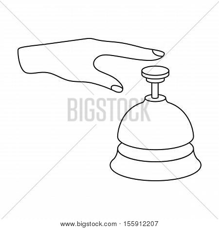 Reception bell icon in outline style isolated on white background. Hotel symbol vector illustration.