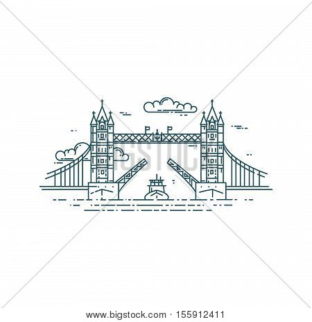 Tower Bridge in London raised. Modern flat line vector illustration. Ship on Thames river.