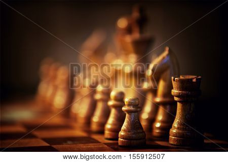 Game of chess with wooden figures