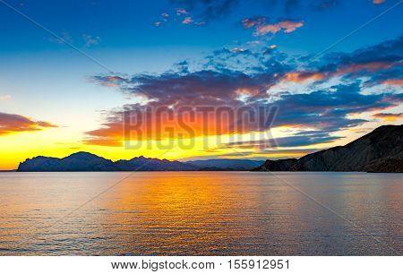 Sunset Over The Ancient Volcano Karadag, Crimea