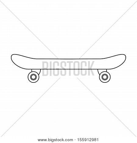 Skateboard icon in outline style isolated on white background. Park symbol vector illustration.