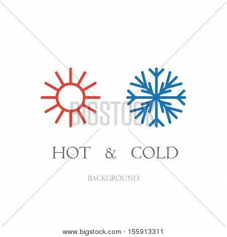 Sun and snowflake symbols isolated on white background