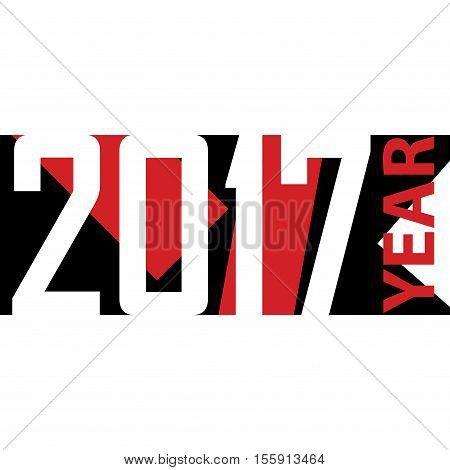 White, red and black color 2017 new year background