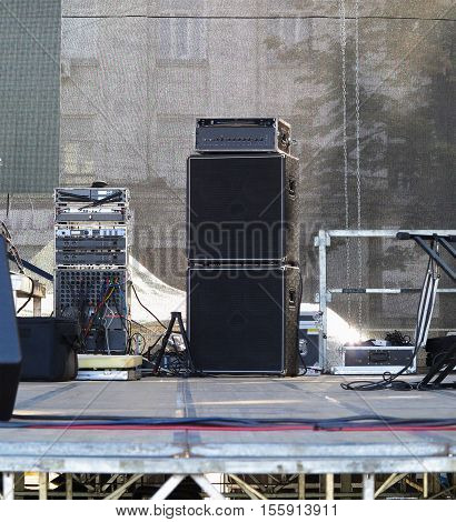 Powerful Speakers, Amplifiers And Equipment On Stage