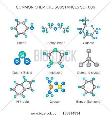 Vector molecular structures of chemical substances isolated on white poster