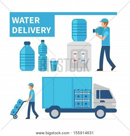 Water delivery infographic elements. Vector flat illustration.
