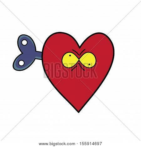 Crazy heart vector illustration. Illustration of an isolated red heart with a toy crank