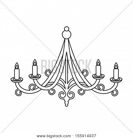 Chandelier icon in outline style isolated on white background. Light source symbol vector illustration