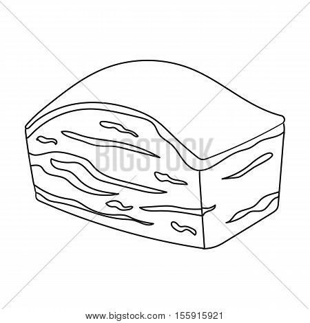 Pork belly icon in outline style isolated on white background. Meats symbol vector illustration