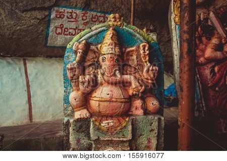 Color statue of Lord Ganesh. Hampi India