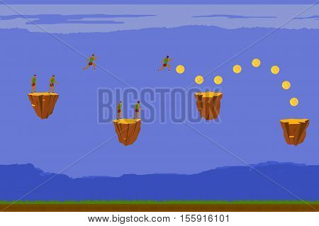 Man runs and collect gold coins. Vector illustration.