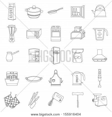 Kitchen set icons in outline style. Big collection of kitchen vector symbol stock