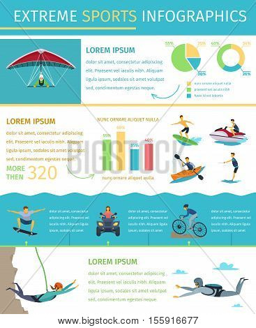 Popular extreme sports list information equipment products market sponsors events and developments flat infographic poster vector illustration