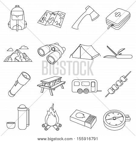 Camping set icons in outline style. Big collection of camping vector symbol stock