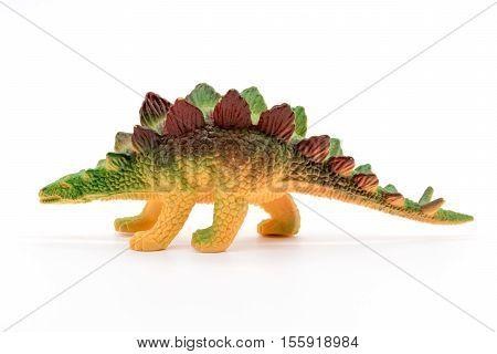 Stegosaurus toy model on white background, toy