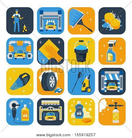 Car wash service symbols flat icons collection with windshield squeegee soap cannon and shampoo isolated vector illustration