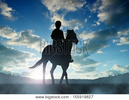Silhouette rider on horse at sunset.