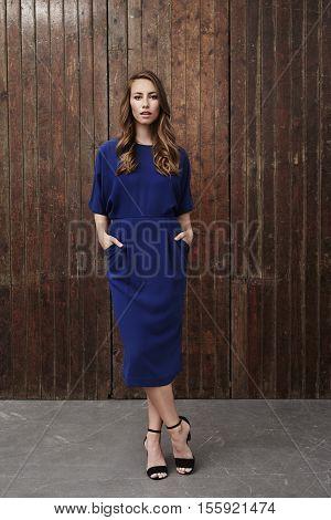 Beautifu stylishl woman in blue dress portrait